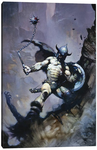 Warrior With Ball And Chain Canvas Art Print