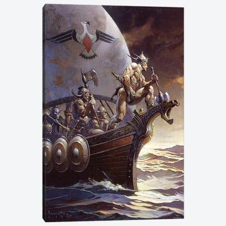 Kane On The Golden Sea Canvas Print #FRF32} by Frank Frazetta Canvas Wall Art