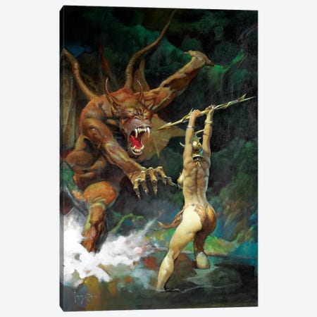 Beauty And The Beast Canvas Print #FRF3} by Frank Frazetta Art Print