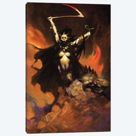 Woman With A Sythe Canvas Print #FRF41} by Frank Frazetta Art Print