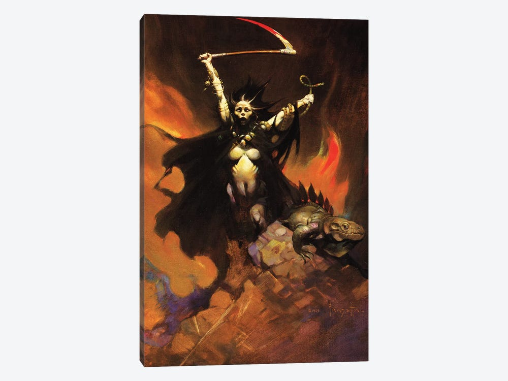 Woman With A Sythe by Frank Frazetta 1-piece Canvas Art Print