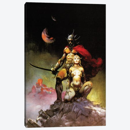 Swords Of Mars Canvas Print #FRF42} by Frank Frazetta Canvas Art Print