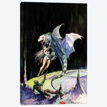 Neptune's Dragon Canvas Print #FRF51} by Frank Frazetta Canvas Artwork