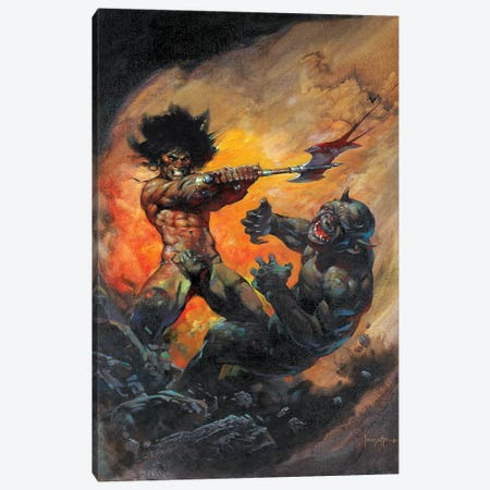 The Barbarian Canvas Print #FRF5} by Frank Frazetta Canvas Artwork