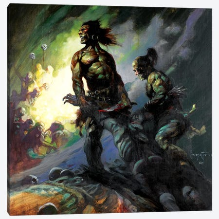 Flesh Eaters Canvas Print #FRF61} by Frank Frazetta Canvas Art Print