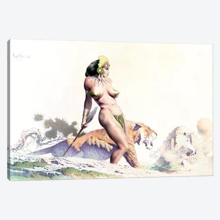 Sabertooth Princess Canvas Print #FRF85} by Frank Frazetta Canvas Artwork
