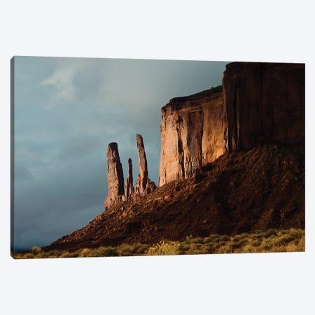 USA, Arizona- Utah, Goulding's, Navajo Tribal Park, Monument Valley, Three Sisters and Mitchell Mesa Canvas Print #FRI11} by Bernard Friel Canvas Print