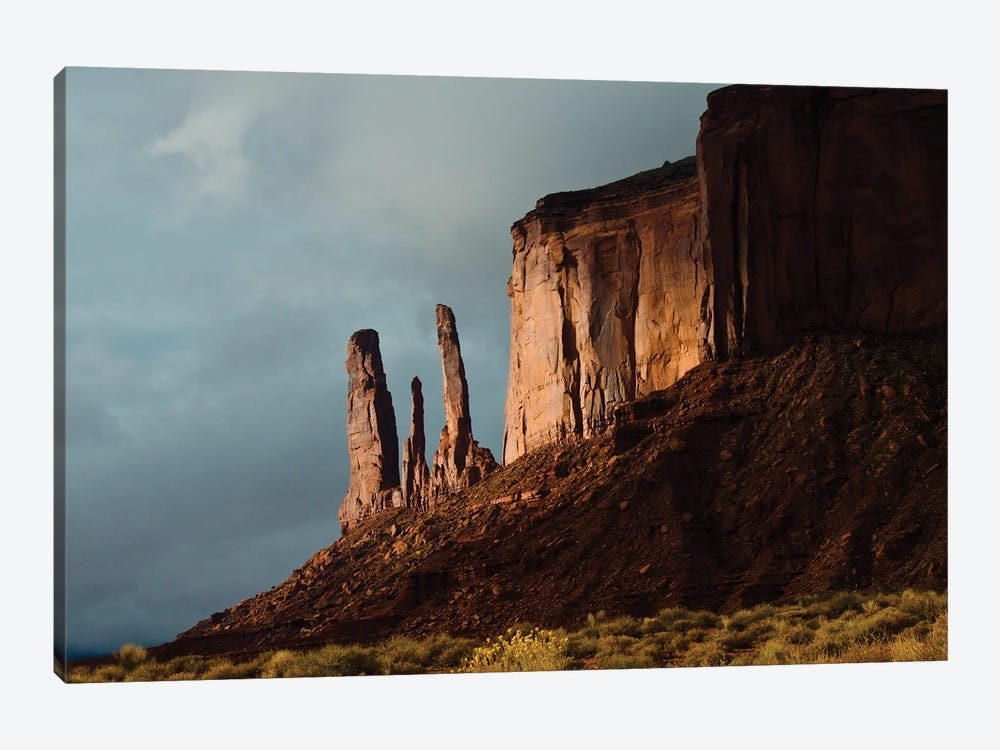 USA, Arizona- Utah, Goulding's, Navajo Tribal Park, Monument Valley, Three Sisters and Mitchell Mesa by Bernard Friel 1-piece Canvas Art