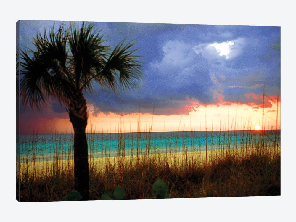 Cloudy Sunset, Siesta Key, Sarasota County, Florida, USA by Bernard Friel 1-piece Canvas Print