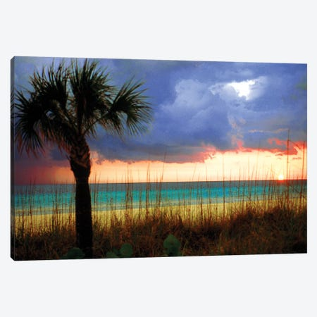Cloudy Sunset, Siesta Key, Sarasota County, Florida, USA 3-Piece Canvas #FRI1} by Bernard Friel Canvas Artwork