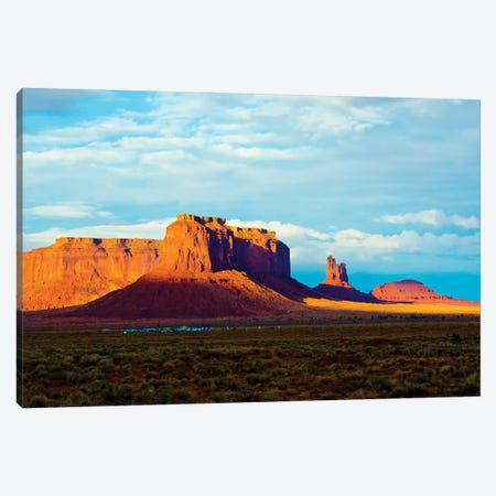 USA, Arizona-Utah border. Monument Valley, Sentinel Mesa and Castle Rock. Canvas Print #FRI9} by Bernard Friel Canvas Wall Art