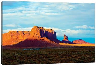 USA, Arizona-Utah border. Monument Valley, Sentinel Mesa and Castle Rock. Canvas Art Print