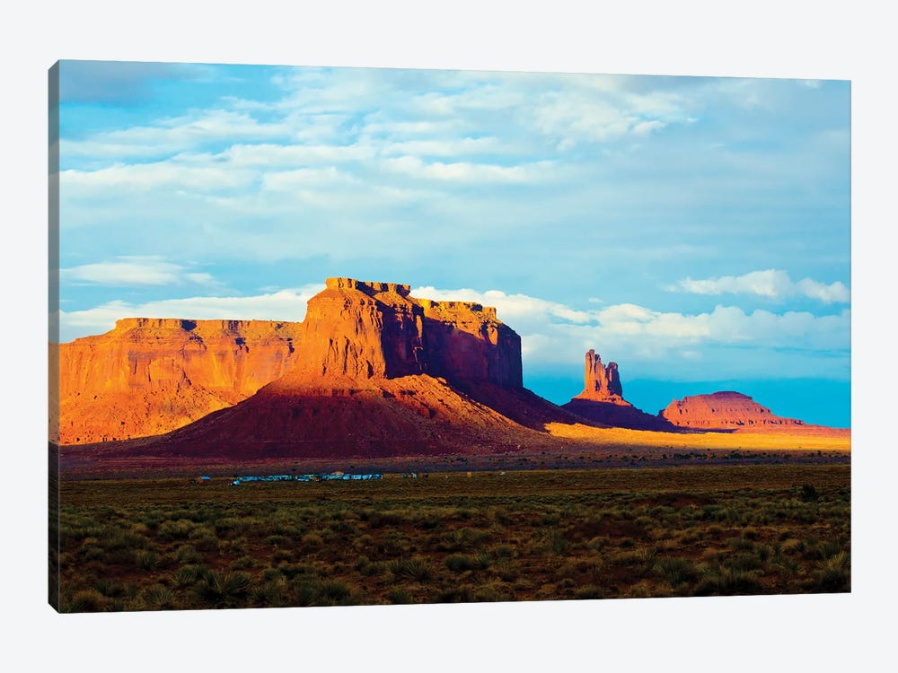 USA, Arizona-Utah border. Monument Valley, Sentinel Mesa and Castle Rock. by Bernard Friel 1-piece Canvas Print