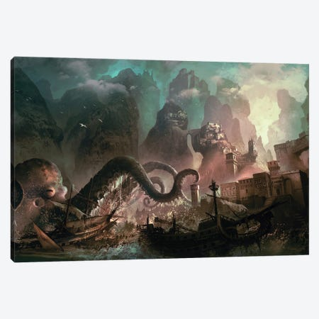Monster Raid Canvas Print #FRL13} by Ferdinand Ladera Canvas Artwork