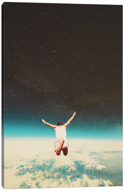 Falling with a hidden smile Canvas Art Print