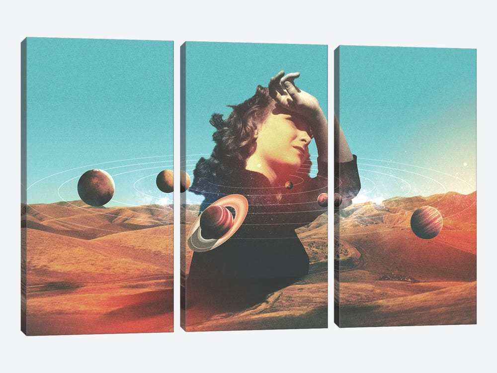 Orbits II by Fran Rodriguez 3-piece Canvas Print