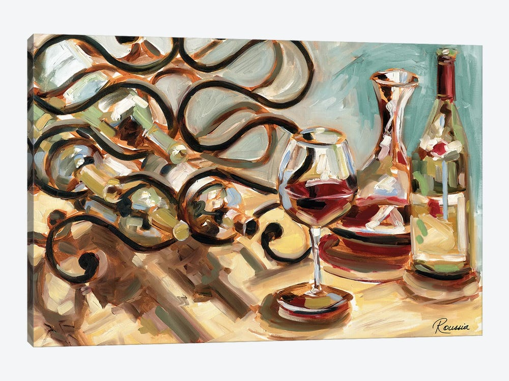 Decanter and Wine by Heather A. French-Roussia 1-piece Canvas Art Print