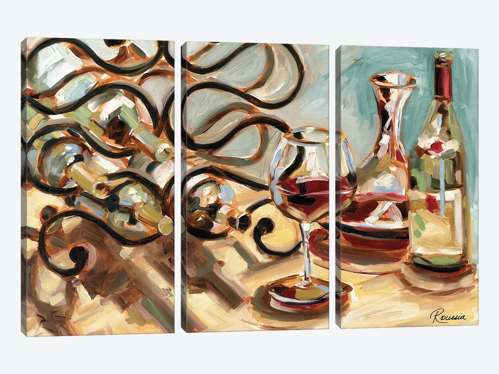 Decanter and Wine by Heather A. French-Roussia 3-piece Canvas Print