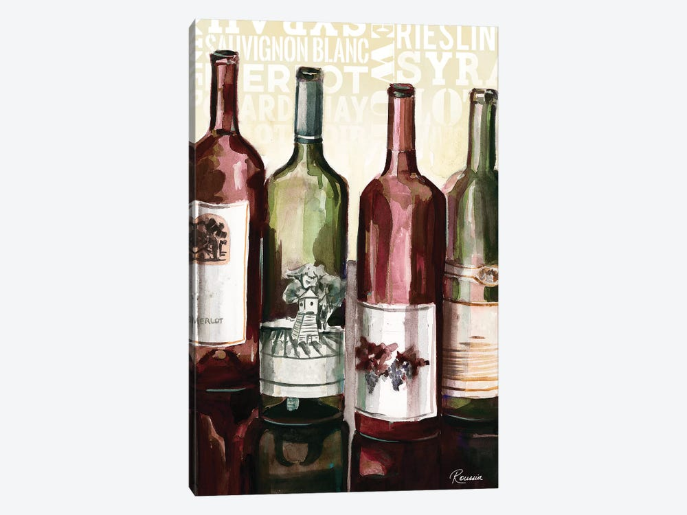 Wine Typography II by Heather A. French-Roussia 1-piece Canvas Art
