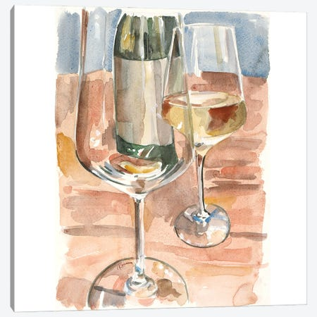 Glass of White Canvas Print #FRR35} by Heather A. French-Roussia Art Print