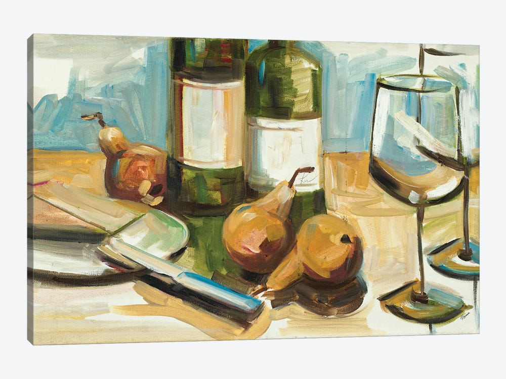 Pears Well with Wine by Heather A. French-Roussia 1-piece Canvas Art