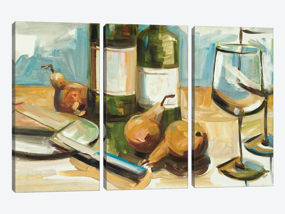 Pears Well with Wine by Heather A. French-Roussia 3-piece Canvas Artwork
