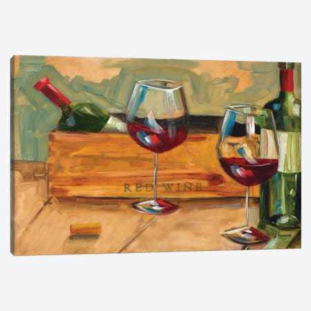 Red Wine Canvas Print #FRR41} by Heather A. French-Roussia Art Print