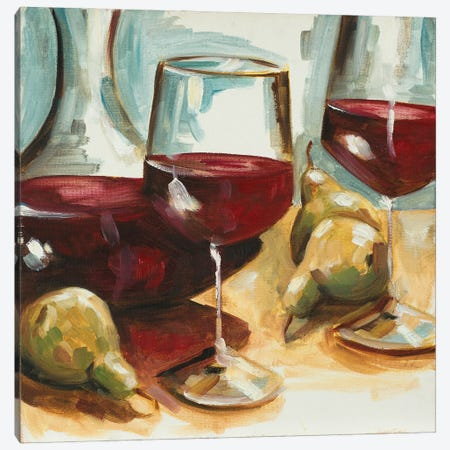 Red Wine and Pears Canvas Print #FRR42} by Heather A. French-Roussia Canvas Print