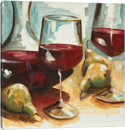 Red Wine and Pears Canvas Art Print