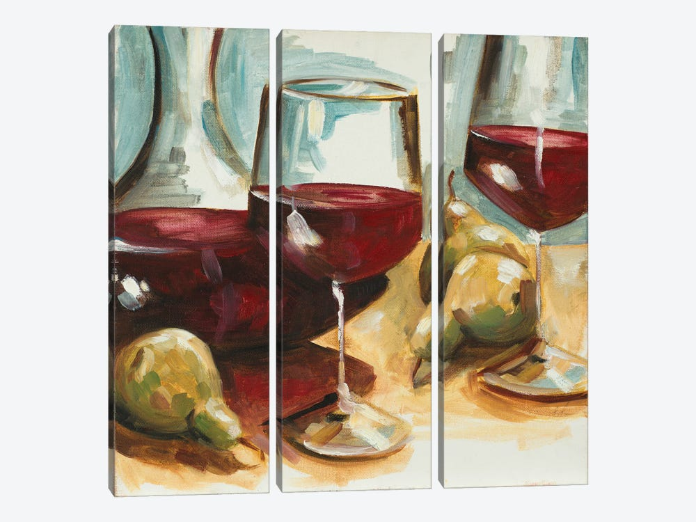Red Wine and Pears by Heather A. French-Roussia 3-piece Canvas Artwork