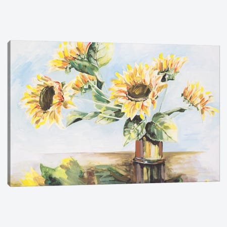 Sunflowers on Golden Vase Canvas Print #FRR44} by Heather A. French-Roussia Canvas Wall Art