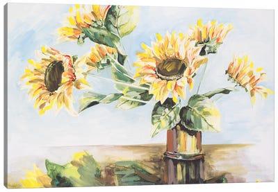 Sunflowers on Golden Vase Canvas Art Print