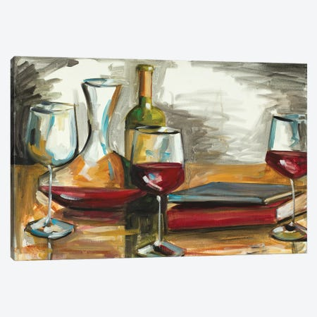 Wine and Books Canvas Print #FRR46} by Heather A. French-Roussia Canvas Art