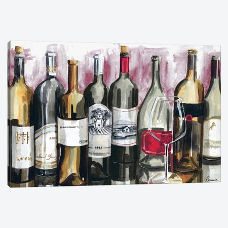 Bottles Reflect on Red I Canvas Print #FRR8} by Heather A. French-Roussia Canvas Wall Art