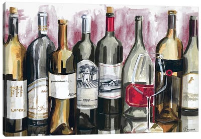 Bottles Reflect on Red I Canvas Art Print