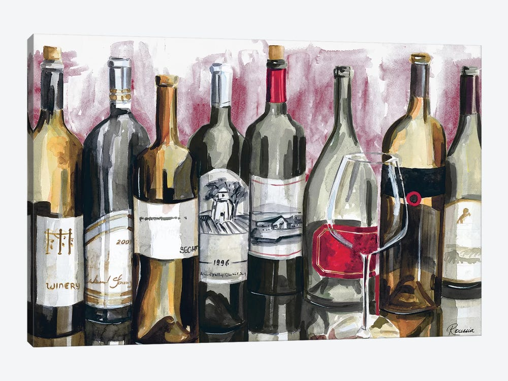 Bottles Reflect on Red I by Heather A. French-Roussia 1-piece Canvas Print