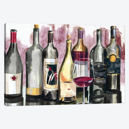 Bottles Reflect on Red II Canvas Print #FRR9} by Heather A. French-Roussia Canvas Artwork