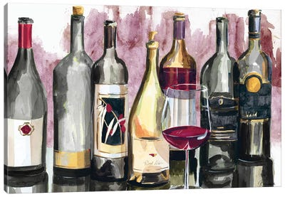 Bottles Reflect on Red II Canvas Art Print