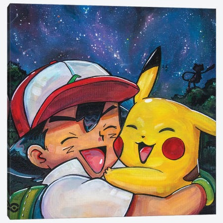 Ash And Pikachu Canvas Print #FRT26} by Forrest Stuart Canvas Artwork