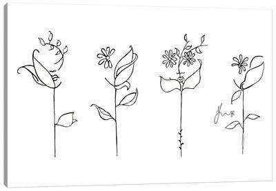 Flower Heads & Planted Faces Canvas Art Print