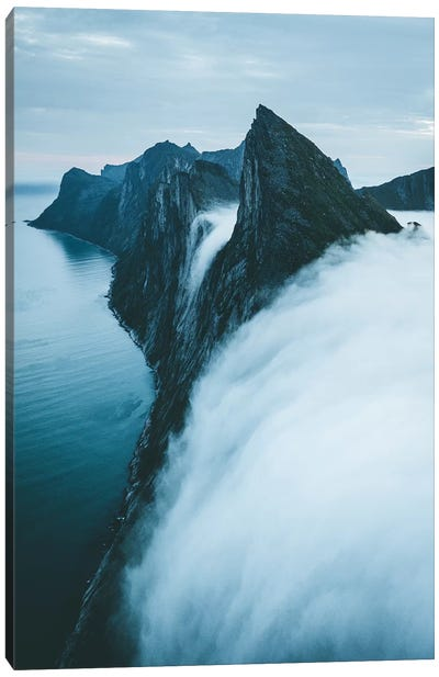Fog Falls Of Senja island, Norway Canvas Art Print