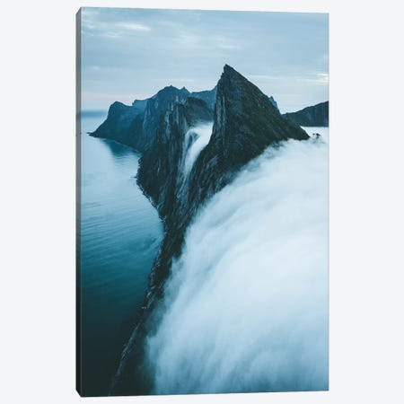 Fog Falls Of Senja island, Norway Canvas Print #FSB16} by Steffen Fossbakk Canvas Artwork