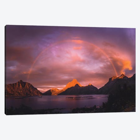 Sunset Rainbows, Senja Canvas Print #FSB54} by Steffen Fossbakk Canvas Art