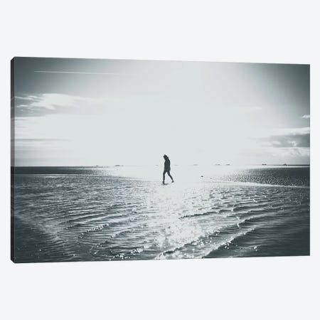 Walking People At The Beach 3-Piece Canvas #FSC49} by Florian Schleinig Art Print