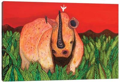Rhino With Egret Canvas Art Print