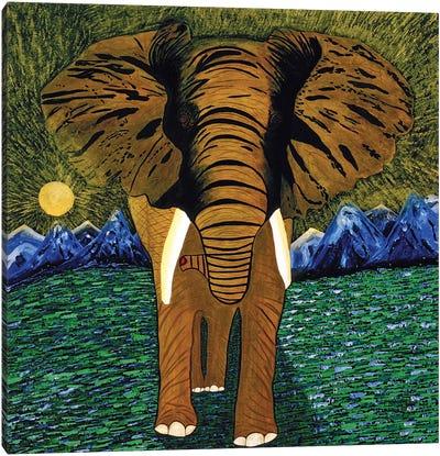 Elefante Con Luna Llena Canvas Art Print