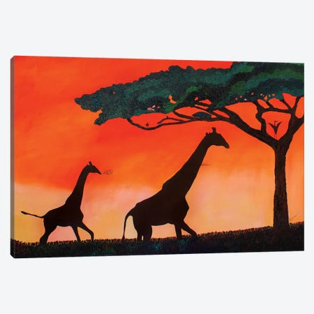Giraffes At Sunset Canvas Print #FSN8} by Francisco Sanabria Canvas Wall Art