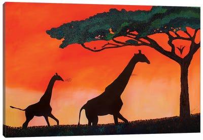 Giraffes At Sunset Canvas Art Print