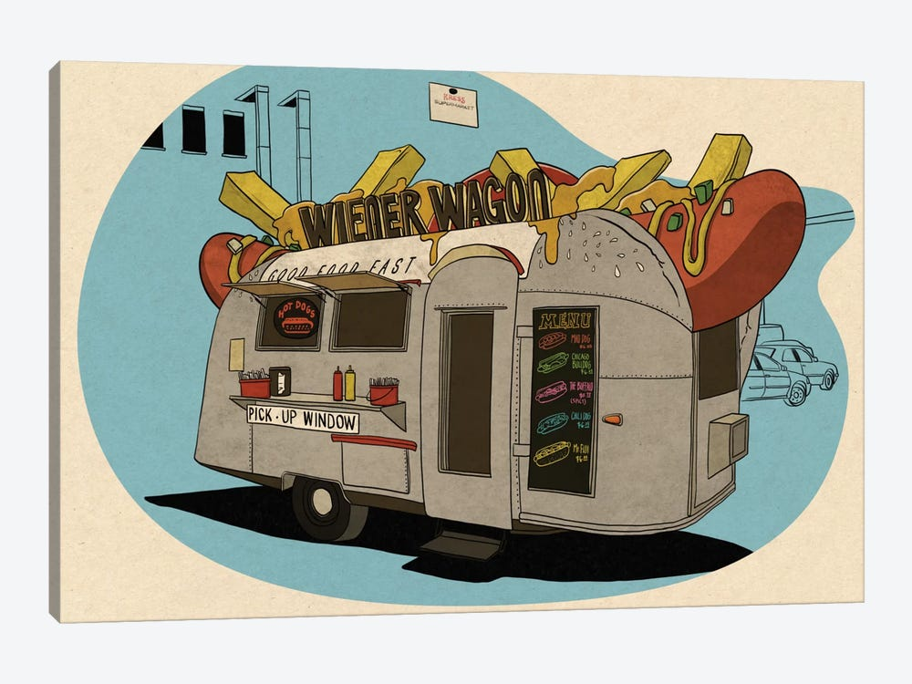 Wiener Wagon by 5by5collective 1-piece Canvas Artwork