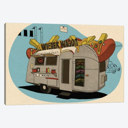 Wiener Wagon 3-Piece Canvas #FTS12} by 5by5collective Canvas Print